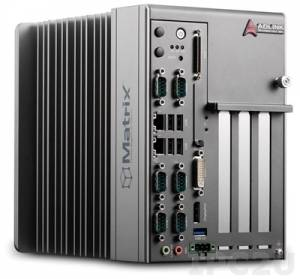MXC-2300-3S Intel Atom E3845 Fanless Expandable Embedded Computer 1.91 GHz, 4GB DDR3L, DP, VGA, DVI, 2xGB LAN, 5xUSB, 3x PCI, Audio, 9-32V DC input, BIOS support Win 7