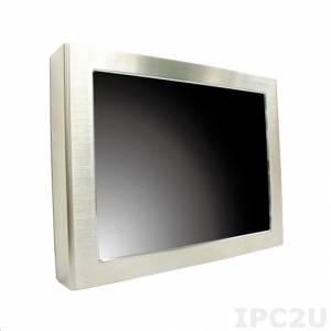 "iROBO-FP216S 21.5"" TFT LCD Full IP65 Panel PC, Stainless Steel, Touch Screen, Intel Atom D2550 1.86GHz, up to 4GB DDR3 SODIMM RAM, Gbit LAN, 2xCOM, USB, Mini-PCIe, 12V DC-In, External Power Adapter"