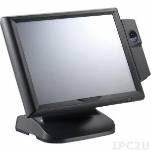 "NPT-1560-036 Fanless Point-of-Sales 15"" TFT XGA LCD Terminal, resistive touch screen, Intel Celeron J1900 2.0GHz, 4GB DDR3L, 320GB 2.5"" SATA, 2xUSB 3.0, 2xUSB 2.0, 4xRS-232, 2xMini PCIe, VGA, LAN, power supply 24V DC"