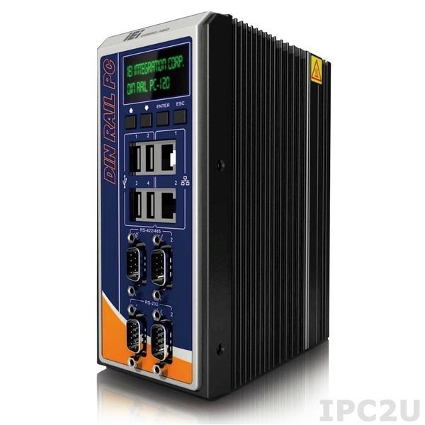 "DRPC-120-BTi-E5-OLED/2G-R10 Embedded Server, Intel Bay Trail E3845 1.91 GHz, 2GB DDR3L, 2xGbit LAN, 2xRS232/2xRS422/485, HDMI, VGA, DVI-I, 4xUSB, 1x2.5"" SATA HDD/SDD Drive Bay, mSATA, 8xDI/8xDO, IEI iRIS-2400 (optional), OLED Indicator, 9..+30V DC-In"