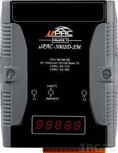 uPAC-5002D-SM PC-compatible 80MHz Industrial Controller, 512KB Flash, 768KB SRAM, 16KB EEPROM, 31B NVRAM, microSD, 512 KB Battery Backup SRAM, 1xRS232, 1xRS485, 1xFastLAN, LED display, 12-48 VDC