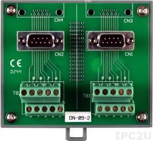 DN-09-2 Terminal Board, DB9 socket, DIN-Rail Mounting, 50V max
