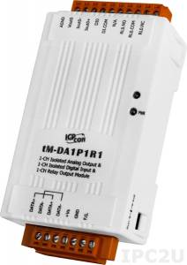 tM-DA1P1R1 1-channel Isolated Analog Output, 1-channel Isolated Digital Input and 1-channel Relay Output Module (RoHS)