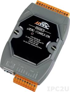 uPAC-7186EX-SM PC-compatible 80MHz Industrial Controller, 512kb Flash, 640kb SRAM, 2xRS232/485, Ethernet, MiniOS7
