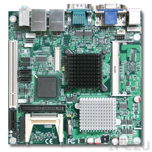 WADE-8170 Mini-ITX Intel Atom N270 1.6GHZ CPU Card with VGA, DVI, LVDS, 2xGb LAN, 2xSATA, Audio, 1xPCIe x1, 1xPCI, 1xIDE, 8xUSB, 1xCF, 2xRS-232