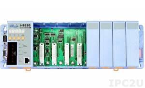 I-8830 PC-compatible 40MHz Industrial Controller, 256kb Flash, 128kb SRAM, 1xRS232, 1xRS232/485, Ethernet 10BaseT, 7-Segment Display, Mini OS7, 8 Expansion Slots