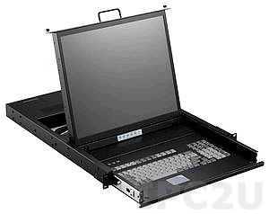 "SMK-980-17PB 1U, 17"" LCD-keyboard drawer, PS/2, with 8x 1.8m KVM cable, 8 ports KVM, TouchPad, Black metal"