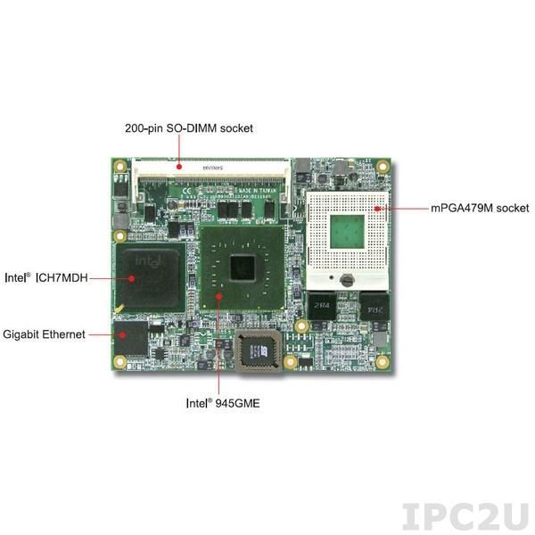 PCOM-B210VL Intel Pentium M or Celeron M in mFCPGA package based Type 2 COM Express module, 915GME+ICH6, 82573L, DDR2 SDRAM, VGA, Fast Ethernet, SDVO, 4xSATA