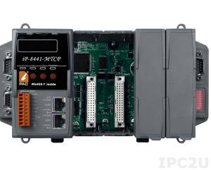 iP-8441-MTCP PC-compatible 80MHz Industrial Controller, 512kb Flash, 768kb SRAM, 2xLAN, 2xRS232, 1xRS485, 1xRS232/485, 7-Segment Display, Mini OS7, 4 Expansion Slots, Modbus TCP