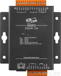 PDSM-734 Programmable Device Server with one RS-232, one RS-485, one RS-422, four DI and four DO ports with Metal Case