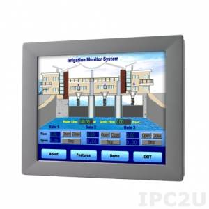 "FPM-2150G-R3BE Industrial Panel Monitor with 15"" TFT LCD LED, 1024x768, brightness 400 nit, resistive touch (RS-232 & USB), VGA, power adapter 100-240V AC DC 60W"